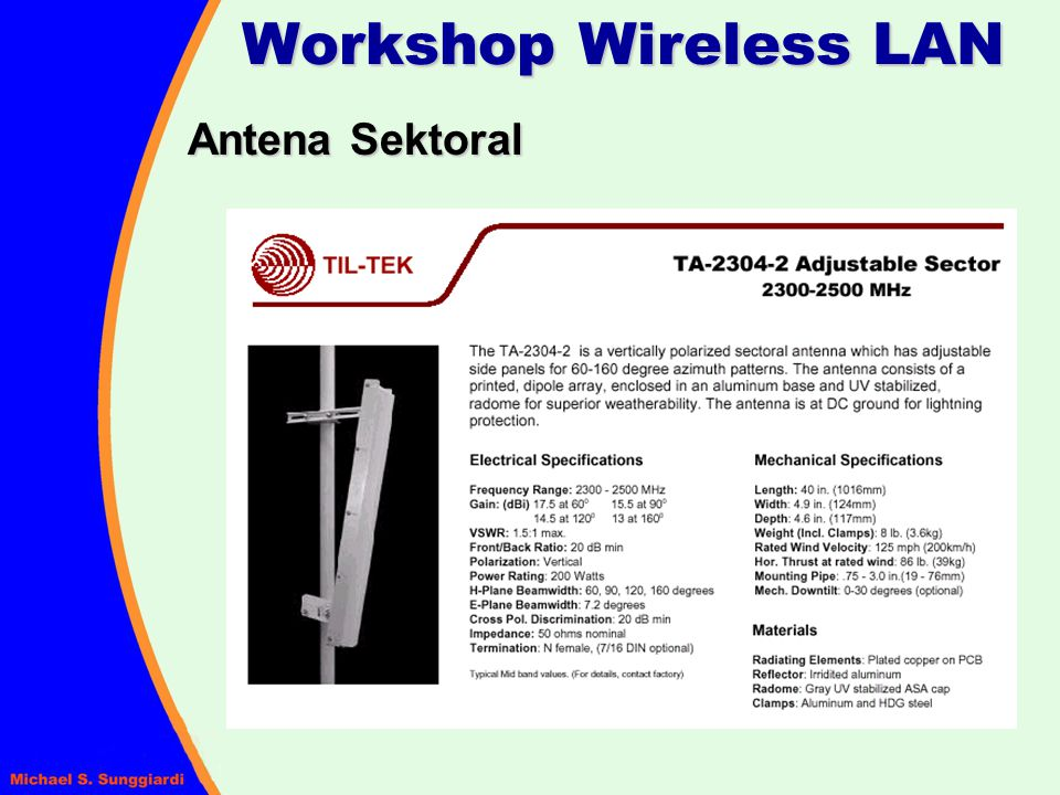 Workshop Wireless LAN Antena Sektoral