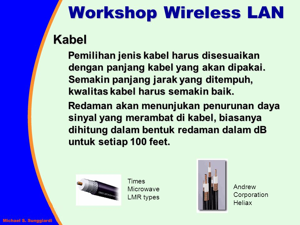 Workshop Wireless LAN Kabel