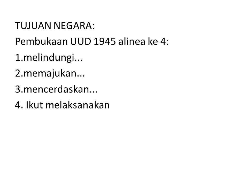 TUJUAN NEGARA: Pembukaan UUD 1945 alinea ke 4: 1. melindungi. 2