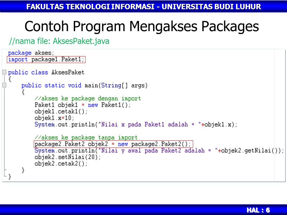 Contoh Program Mengakses Packages