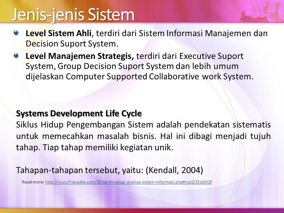 4/5/2017 10:20 PM Jenis-jenis Sistem. Level Sistem Ahli, terdiri dari Sistem Informasi Manajemen dan Decision Suport System.