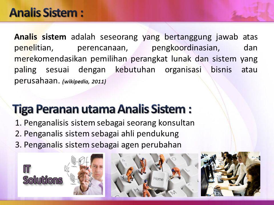 Tiga Peranan utama Analis Sistem :