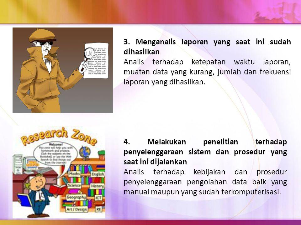 3. Menganalis laporan yang saat ini sudah dihasilkan