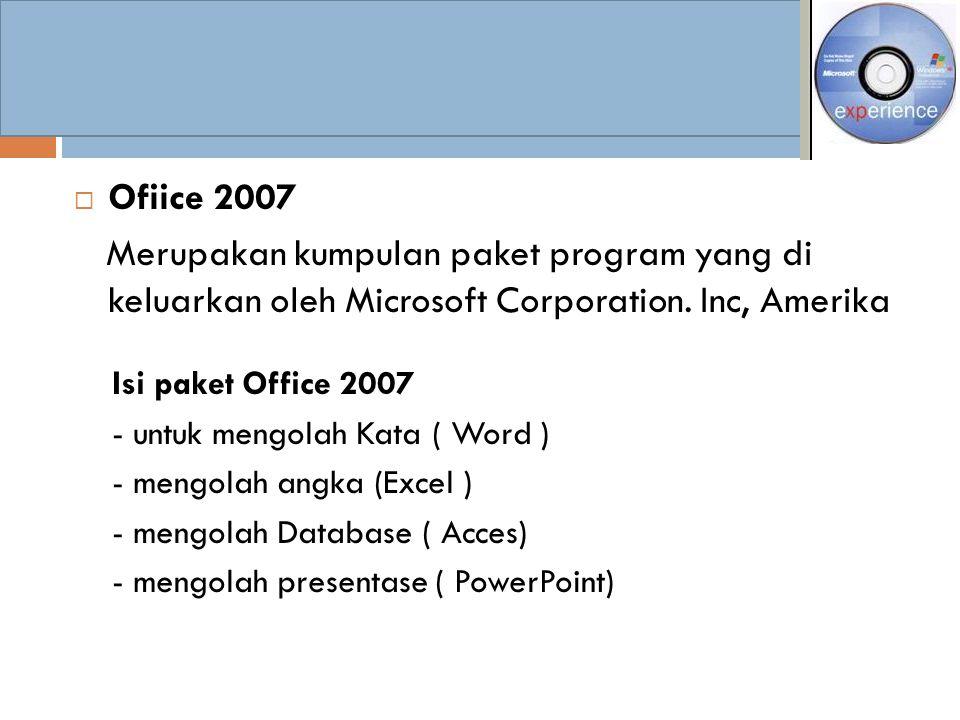 Ofiice 2007 Merupakan kumpulan paket program yang di keluarkan oleh Microsoft Corporation. Inc, Amerika.
