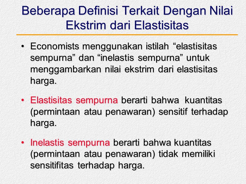 Beberapa Definisi Terkait Dengan Nilai Ekstrim dari Elastisitas