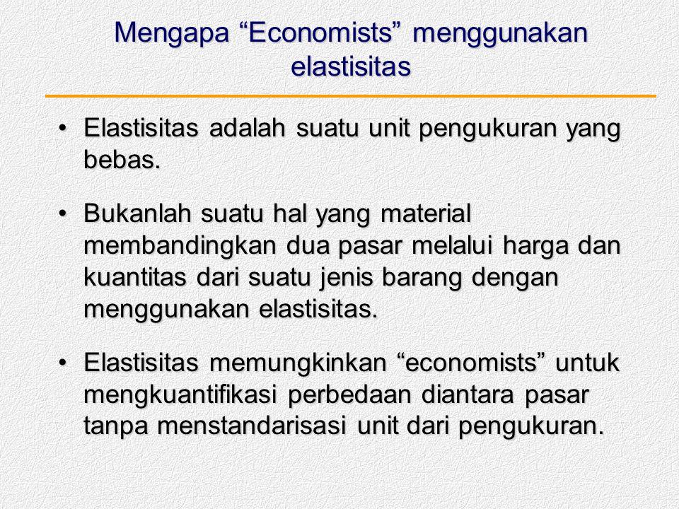 Mengapa Economists menggunakan elastisitas