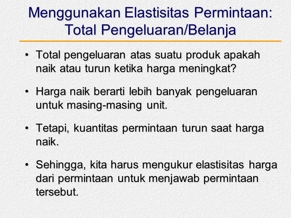 Menggunakan Elastisitas Permintaan: Total Pengeluaran/Belanja