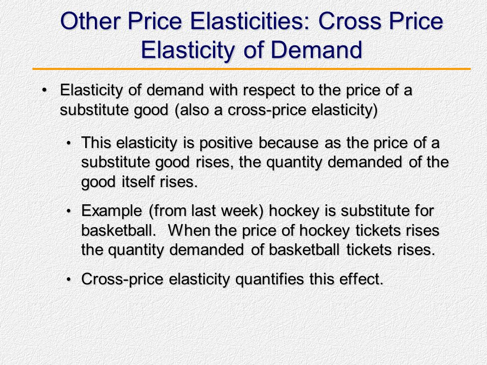 Other Price Elasticities: Cross Price Elasticity of Demand