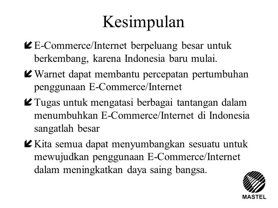 Kesimpulan E-Commerce/Internet berpeluang besar untuk berkembang, karena Indonesia baru mulai.