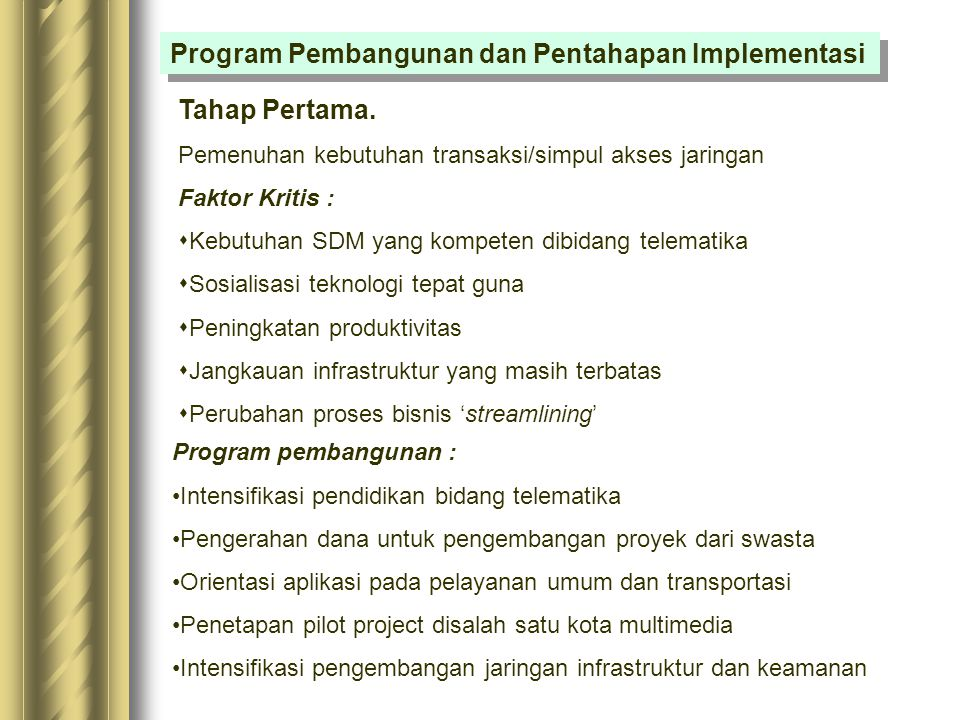 Program Pembangunan dan Pentahapan Implementasi