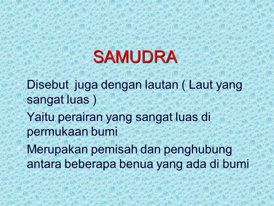 SAMUDRA Disebut juga dengan lautan ( Laut yang sangat luas )