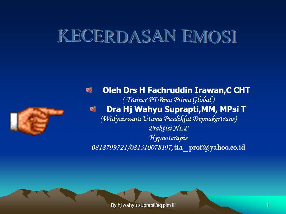 Oleh Drs H Fachruddin Irawan,C CHT Dra Hj Wahyu Suprapti,MM, MPsi T