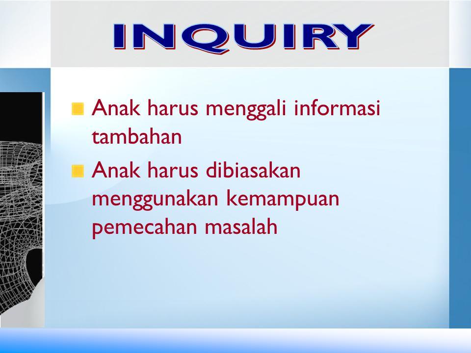 INQUIRY Anak harus menggali informasi tambahan.