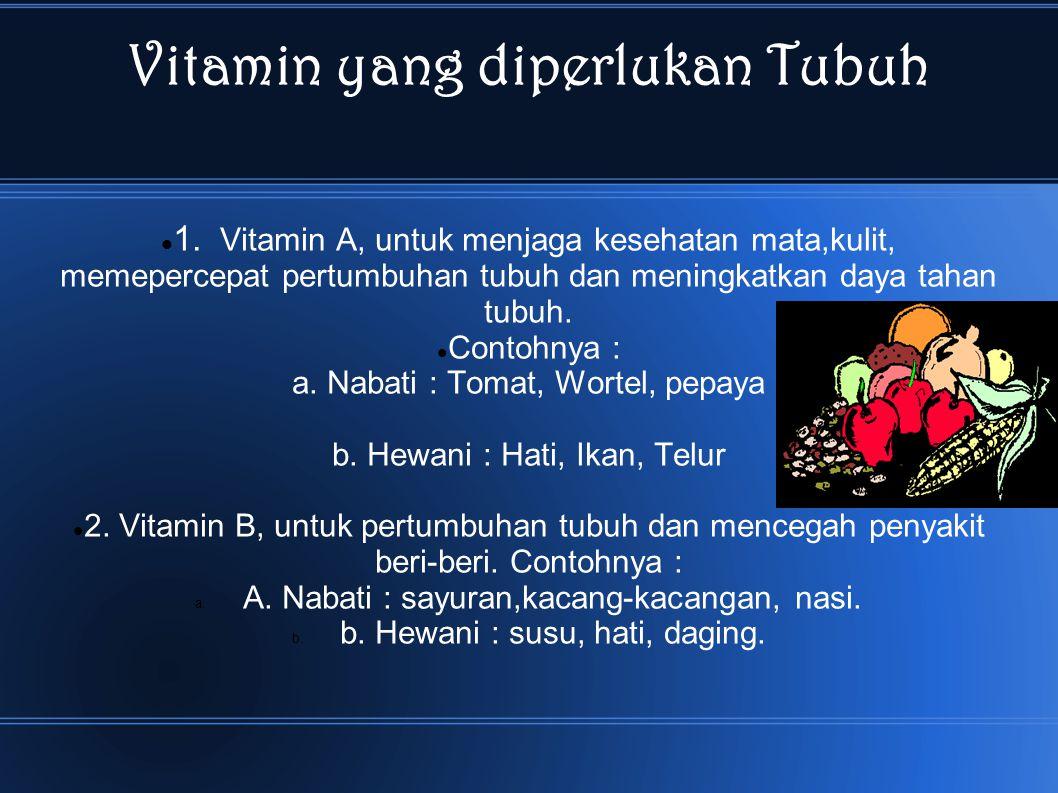Vitamin yang diperlukan Tubuh
