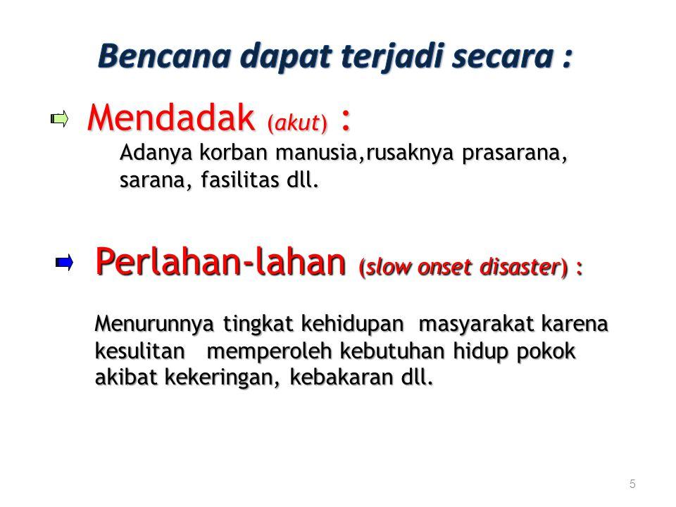 Bencana dapat terjadi secara :