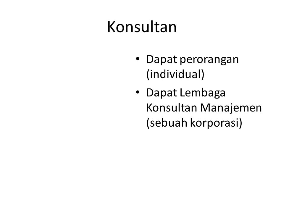 Konsultan Dapat perorangan (individual)
