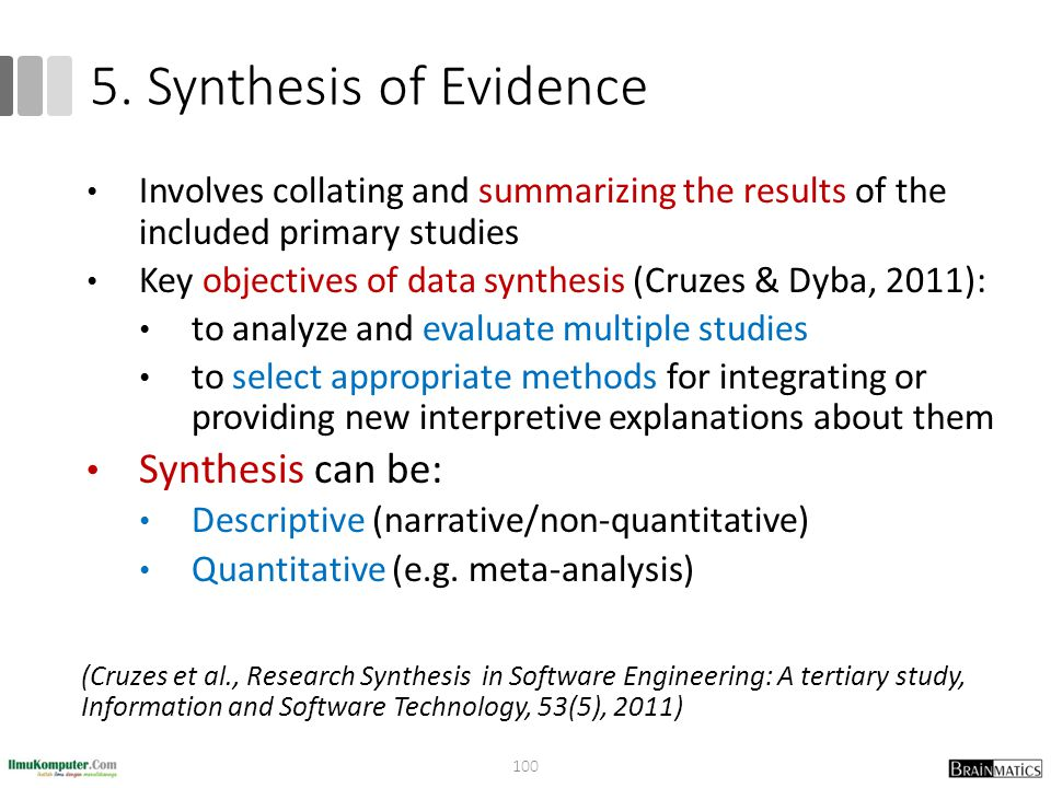 5. Synthesis of Evidence Synthesis can be: