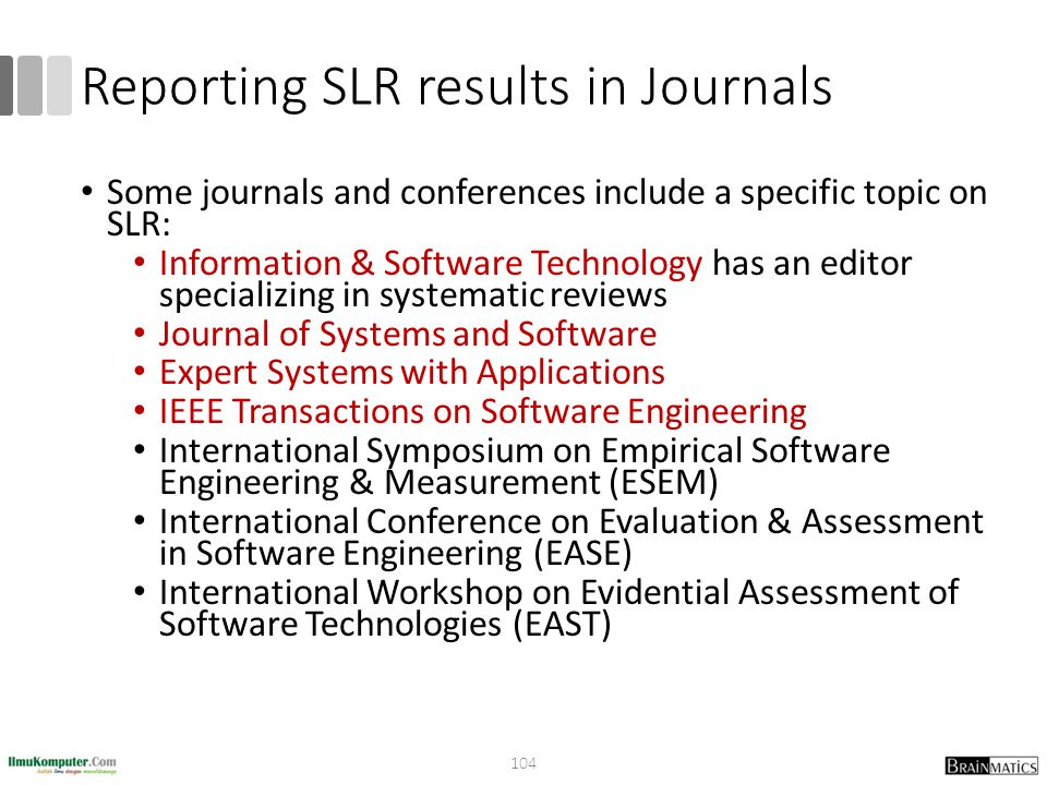 Reporting SLR results in Journals