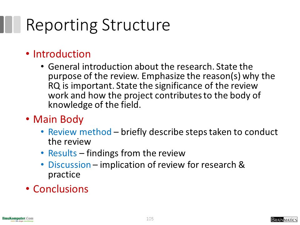Reporting Structure Introduction Main Body Conclusions