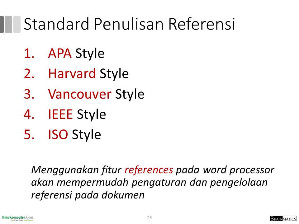 Standard Penulisan Referensi
