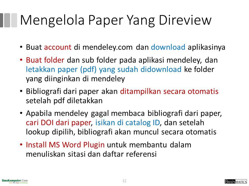 Mengelola Paper Yang Direview