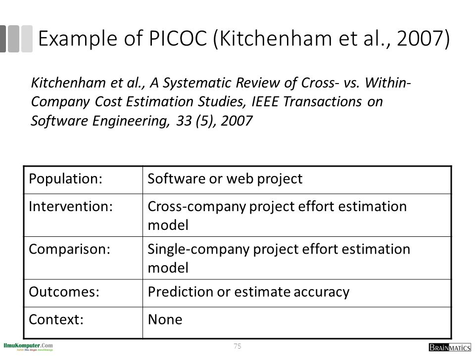 Example of PICOC (Kitchenham et al., 2007)
