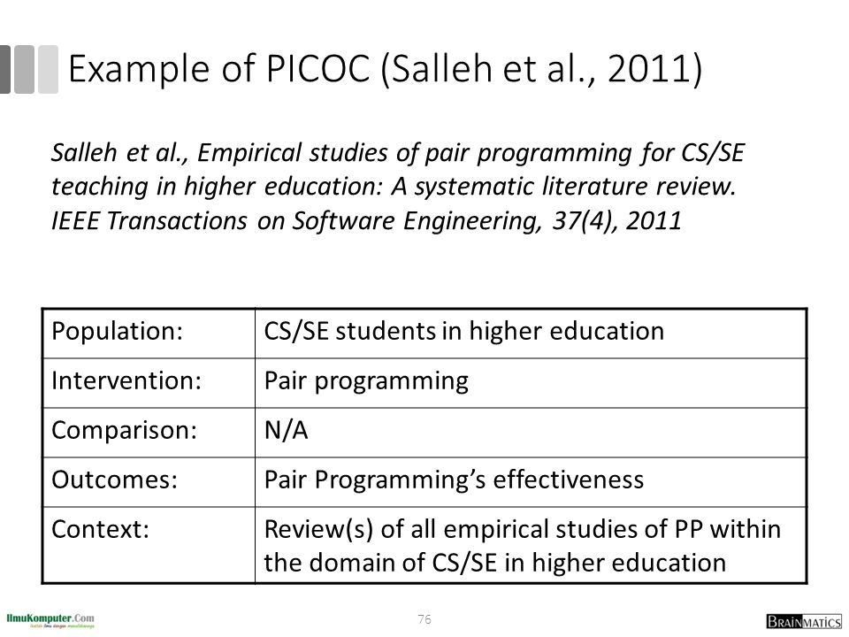 Example of PICOC (Salleh et al., 2011)