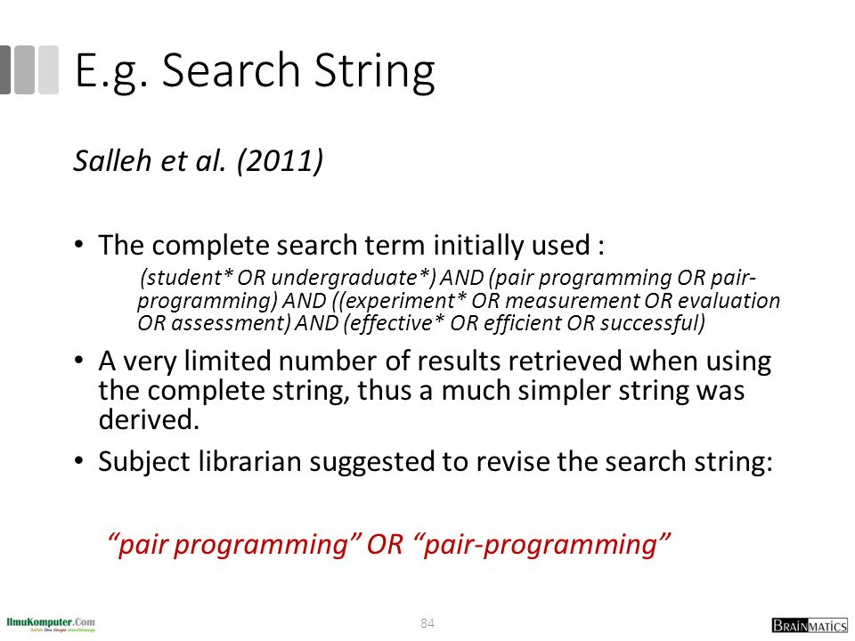 E.g. Search String Salleh et al. (2011)