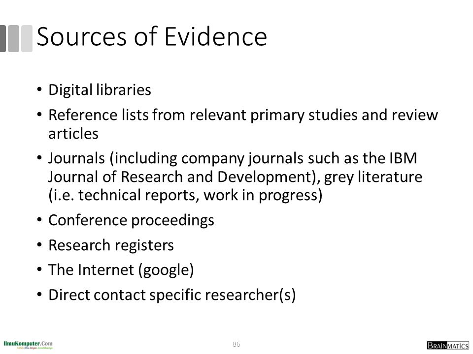 Sources of Evidence Digital libraries