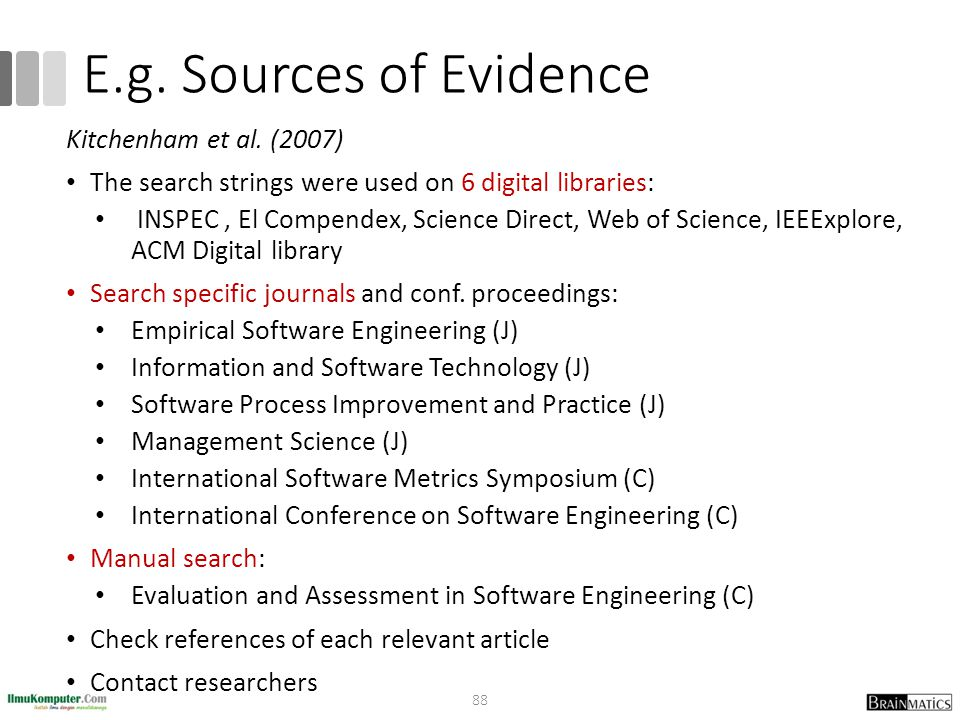 E.g. Sources of Evidence Kitchenham et al. (2007)