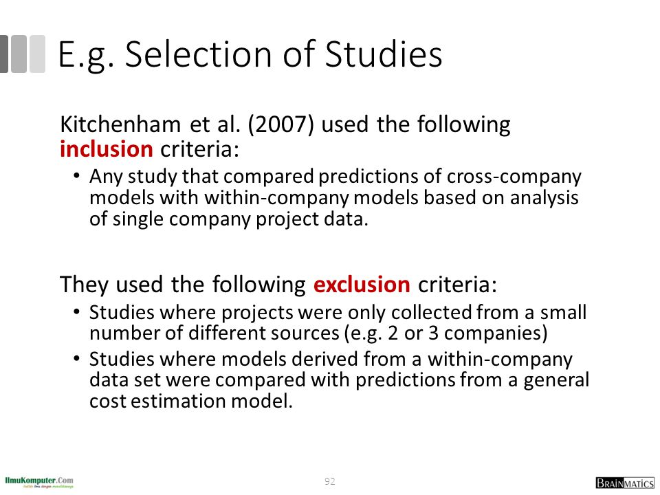 E.g. Selection of Studies