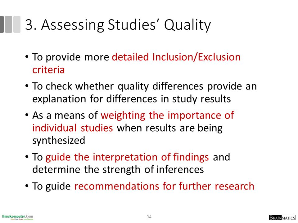 3. Assessing Studies' Quality