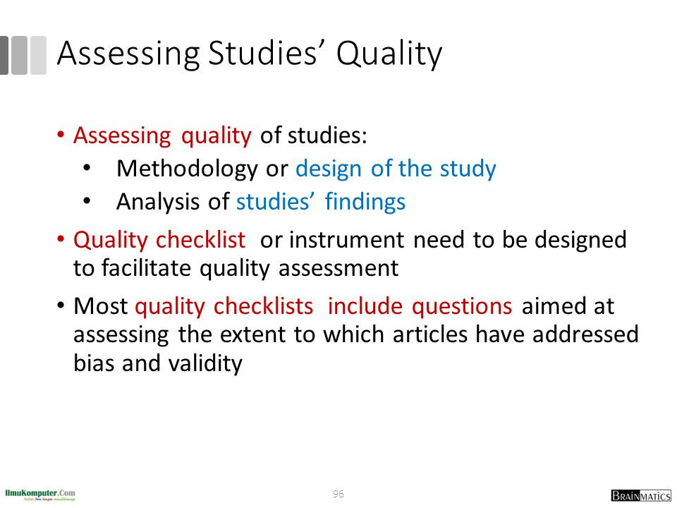 Assessing Studies' Quality