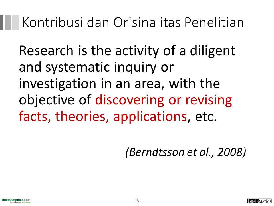 Kontribusi dan Orisinalitas Penelitian