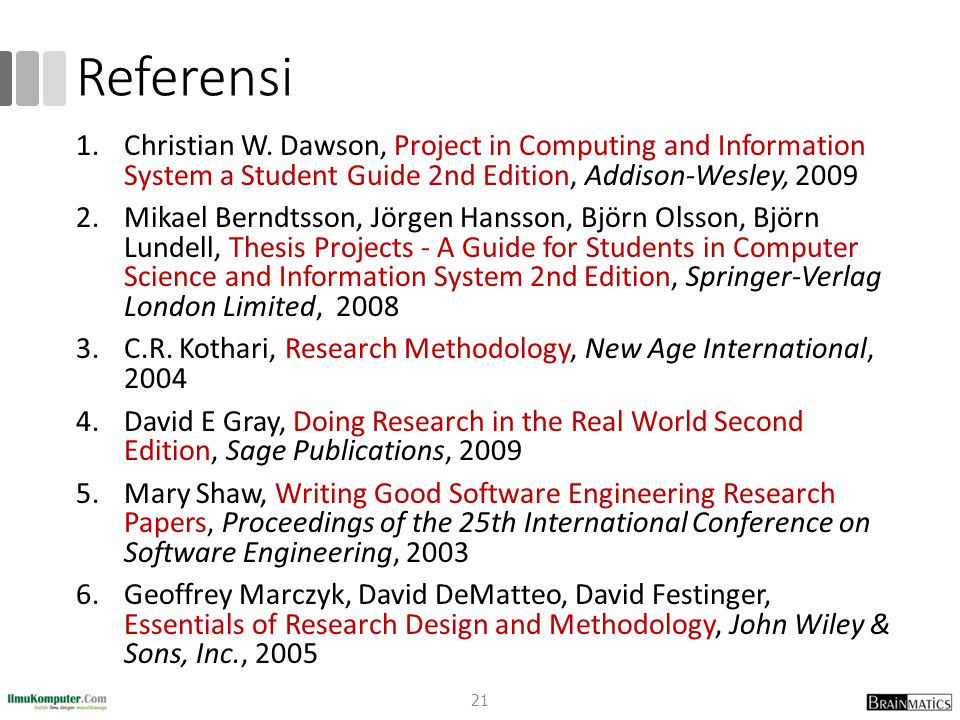 Referensi Christian W. Dawson, Project in Computing and Information System a Student Guide 2nd Edition, Addison-Wesley, 2009.
