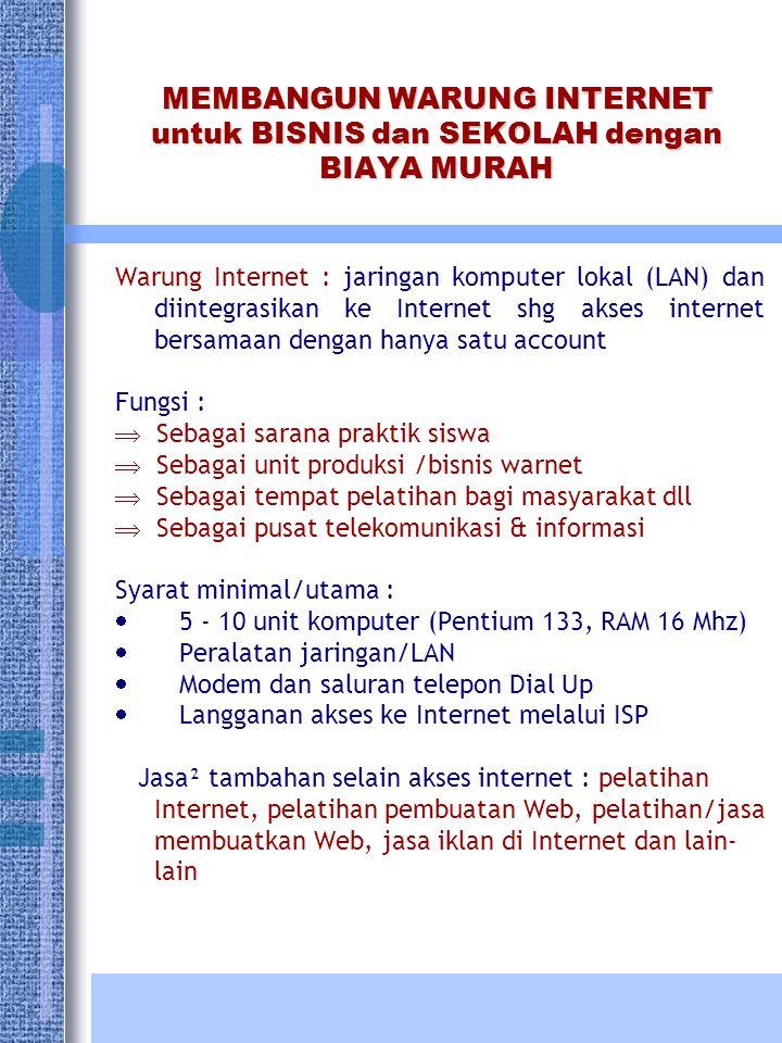 MEMBANGUN WARUNG INTERNET untuk BISNIS dan SEKOLAH dengan BIAYA MURAH