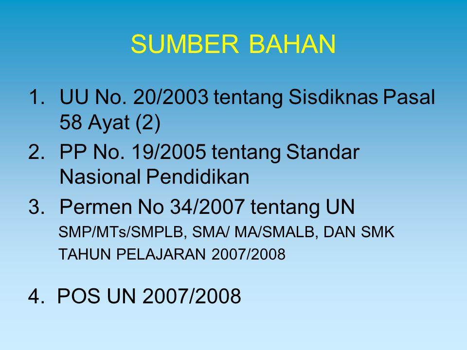 SUMBER BAHAN UU No. 20/2003 tentang Sisdiknas Pasal 58 Ayat (2)