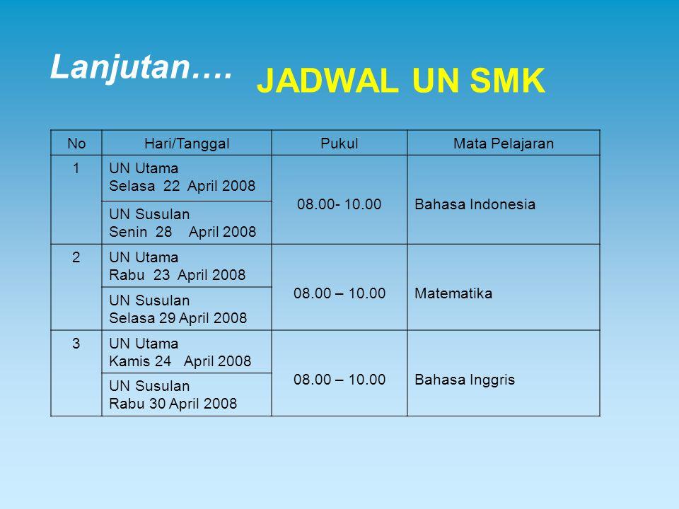Lanjutan…. JADWAL UN SMK No Hari/Tanggal Pukul Mata Pelajaran 1