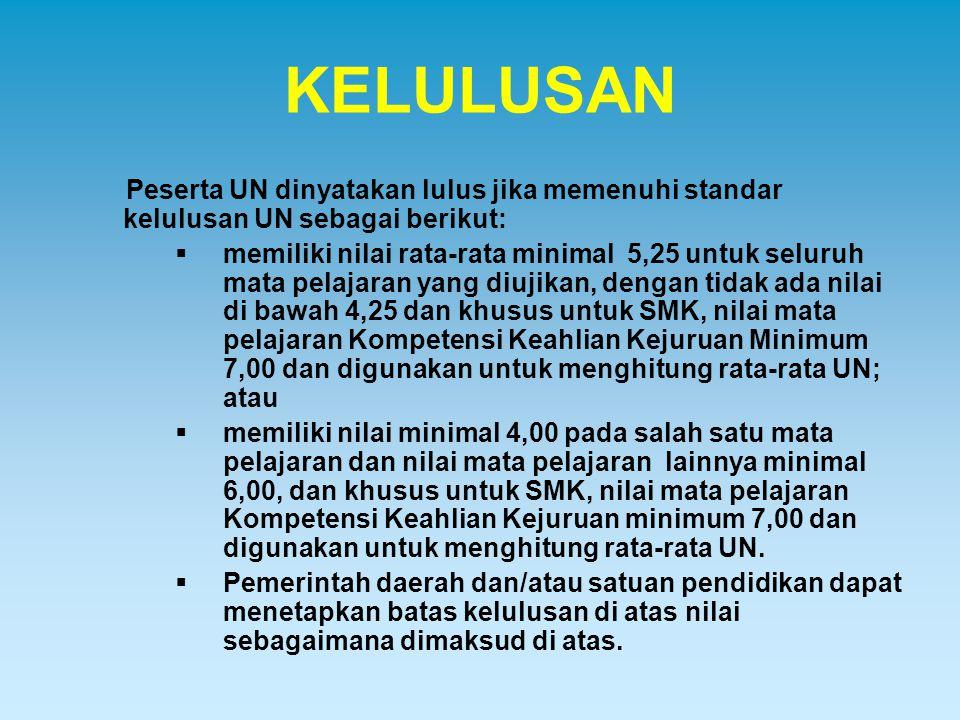 KELULUSAN Peserta UN dinyatakan lulus jika memenuhi standar kelulusan UN sebagai berikut:
