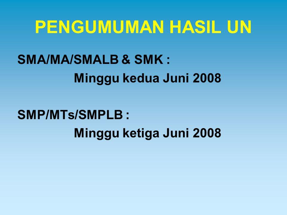 PENGUMUMAN HASIL UN SMA/MA/SMALB & SMK : Minggu kedua Juni 2008