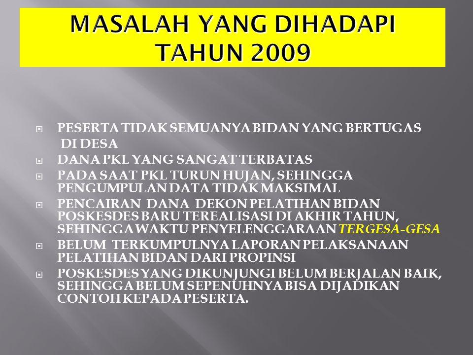 MASALAH YANG DIHADAPI TAHUN 2009