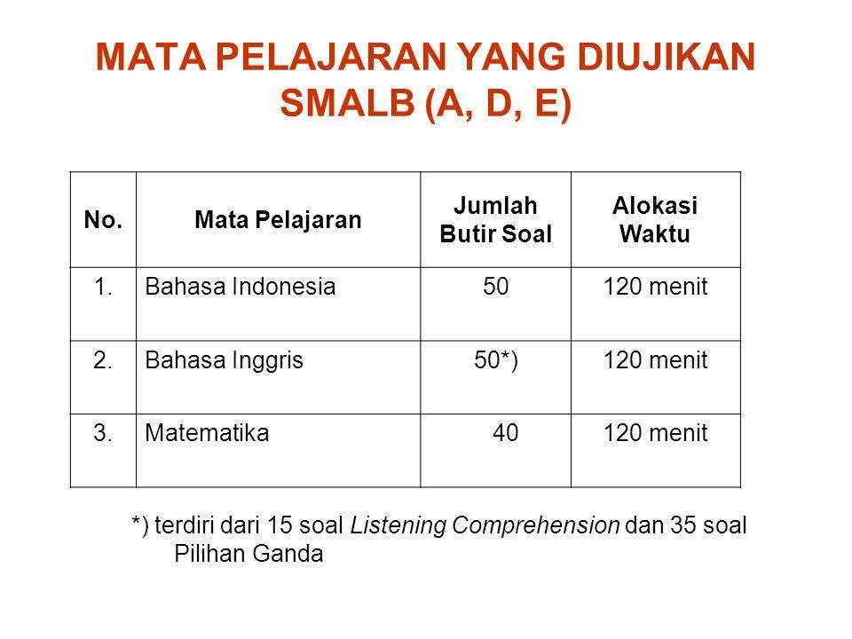MATA PELAJARAN YANG DIUJIKAN SMALB (A, D, E)