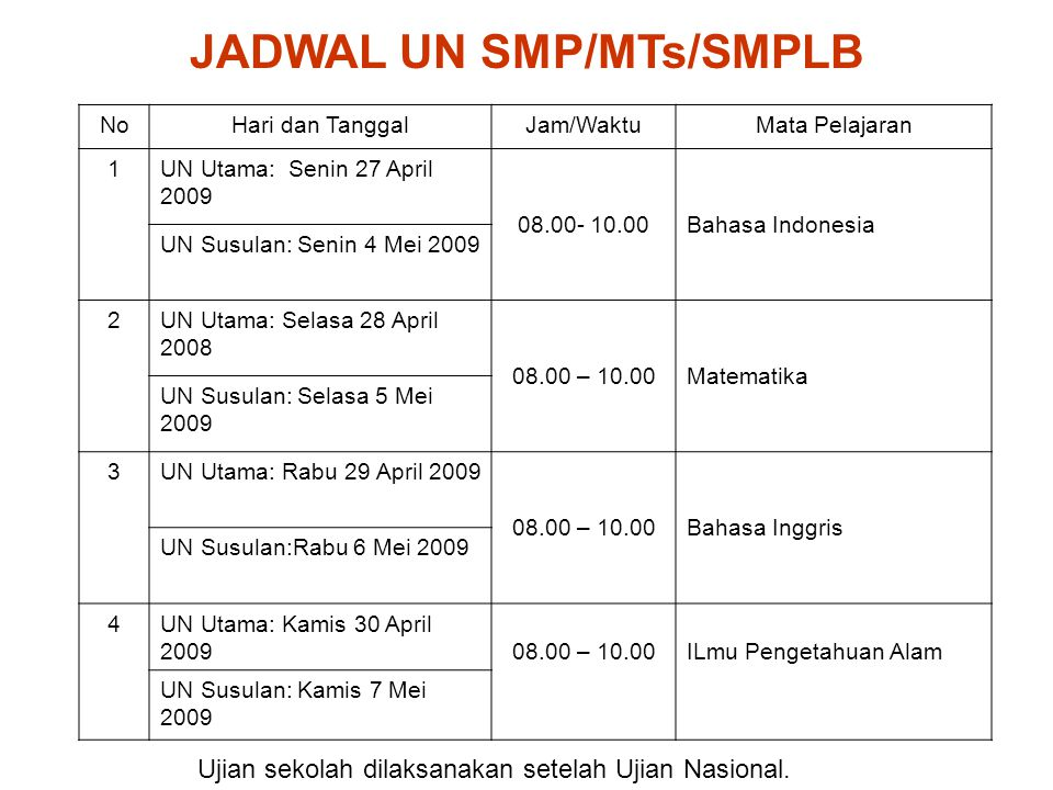 JADWAL UN SMP/MTs/SMPLB