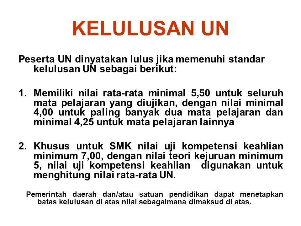 KELULUSAN UN Peserta UN dinyatakan lulus jika memenuhi standar kelulusan UN sebagai berikut: