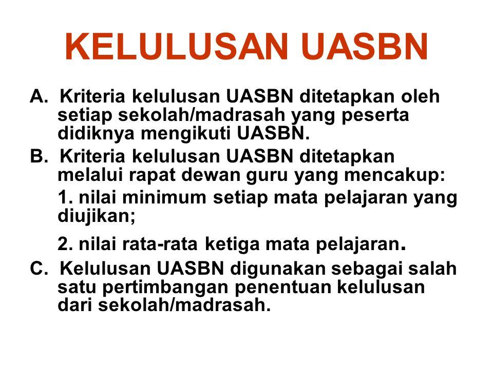 KELULUSAN UASBN A. Kriteria kelulusan UASBN ditetapkan oleh setiap sekolah/madrasah yang peserta didiknya mengikuti UASBN.