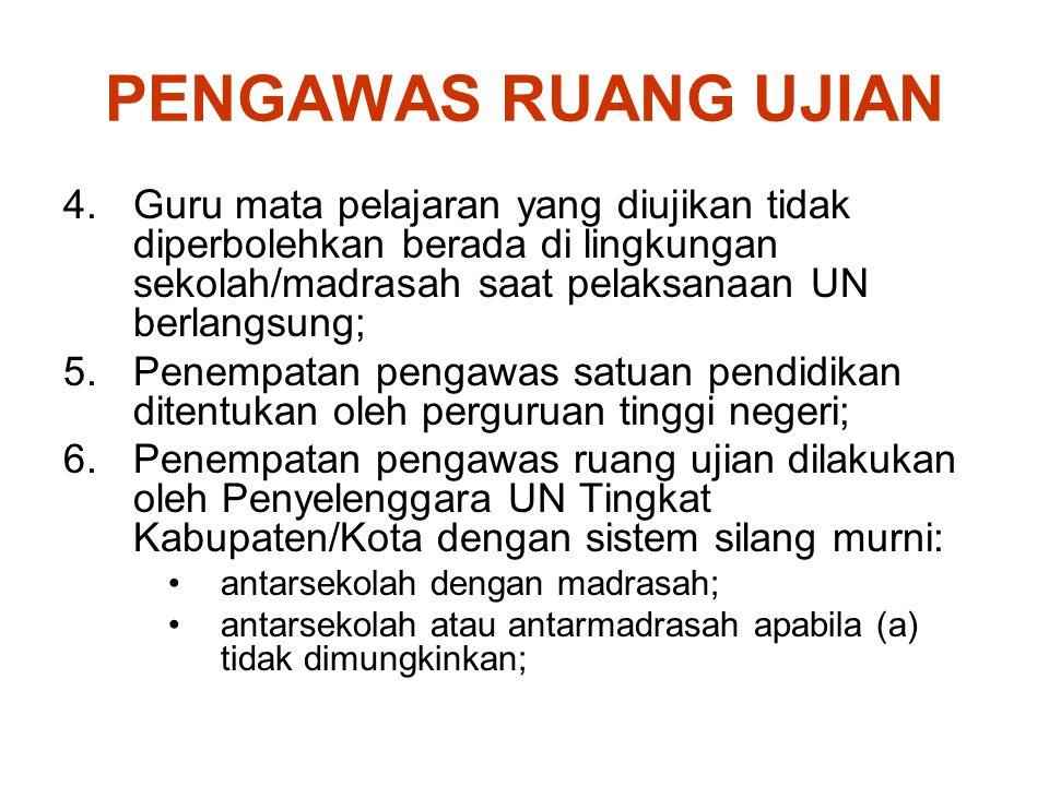 PENGAWAS RUANG UJIAN Guru mata pelajaran yang diujikan tidak diperbolehkan berada di lingkungan sekolah/madrasah saat pelaksanaan UN berlangsung;