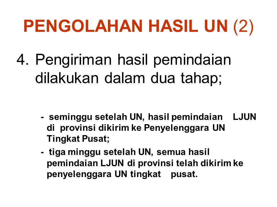 PENGOLAHAN HASIL UN (2) Pengiriman hasil pemindaian dilakukan dalam dua tahap;
