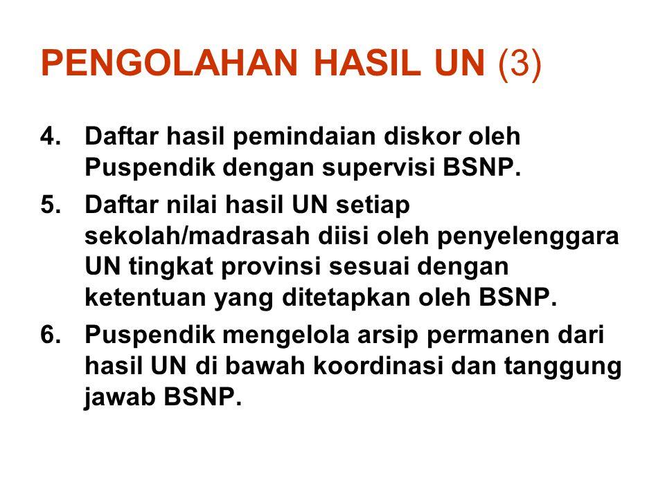PENGOLAHAN HASIL UN (3) Daftar hasil pemindaian diskor oleh Puspendik dengan supervisi BSNP.