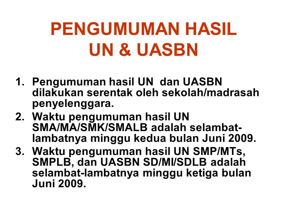 PENGUMUMAN HASIL UN & UASBN