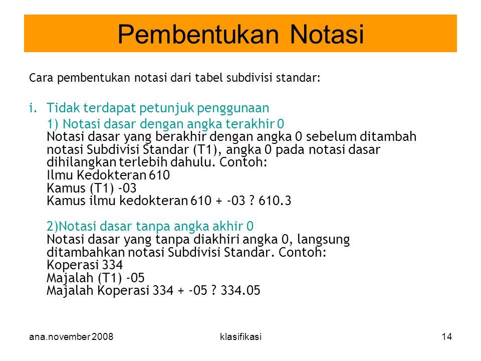 Pembentukan Notasi Tidak terdapat petunjuk penggunaan